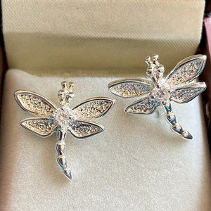 Jewelry - Silver Plated Dragonfly Stud Earrings